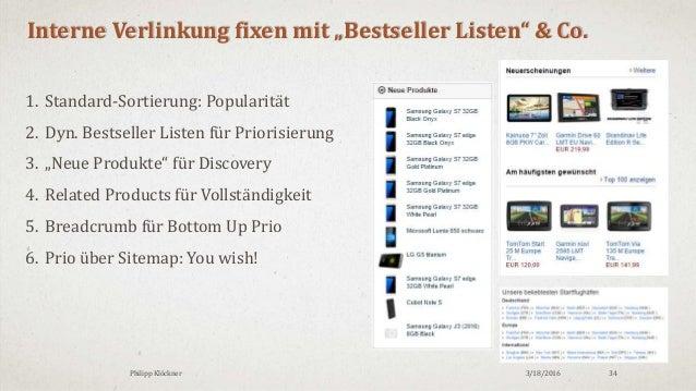"""3/18/2016Philipp Klöckner 34 Interne Verlinkung fixen mit """"Bestseller Listen"""" & Co. 1. Standard-Sortierung: Popularität 2...."""