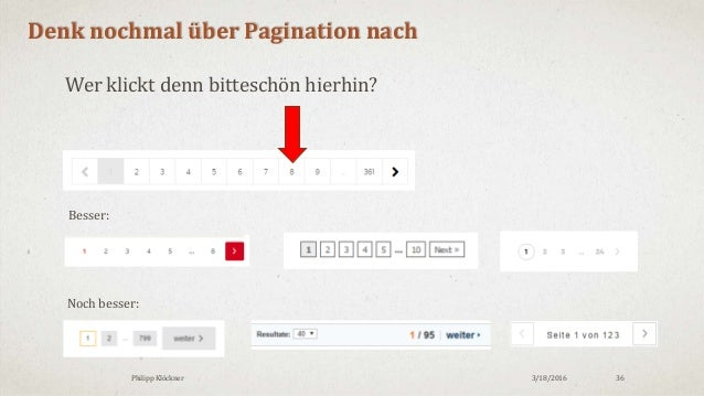 3/18/2016Philipp Klöckner 36 Denk nochmal über Pagination nach Besser: Noch besser: Wer klickt denn bitteschön hierhin?