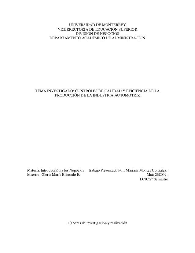 UNIVERSIDAD DE MONTERREY                 VICERRECTORÍA DE EDUCACIÓN SUPERIOR                         DIVISIÓN DE NEGOCIOS ...