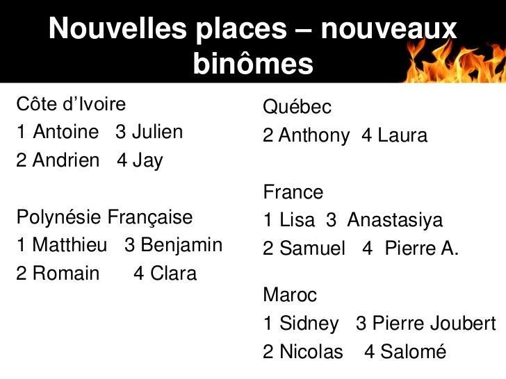 Nouvelles places – nouveaux             binômesCôte d'Ivoire           Québec1 Antoine 3 Julien      2 Anthony 4 Laura2 An...