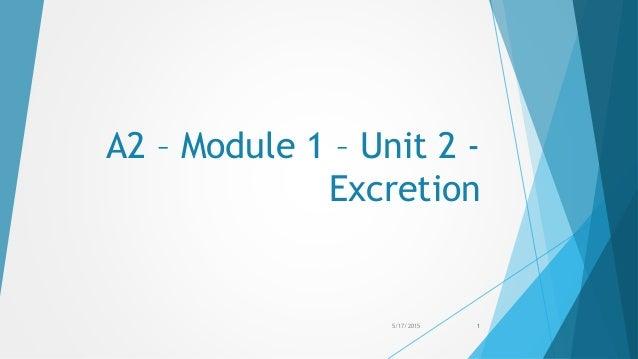 A2 – Module 1 – Unit 2 - Excretion 5/17/2015 1