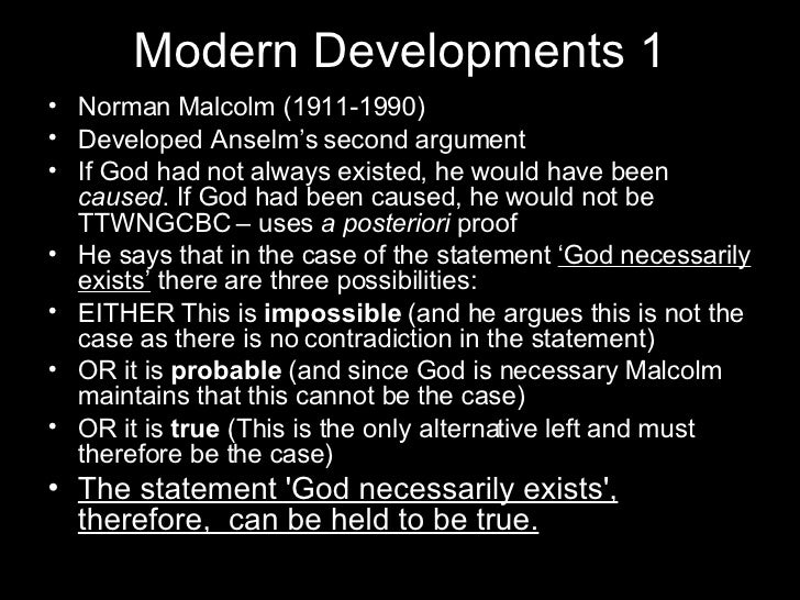 ontological argument essay In this excerpt, evans describes norman malcolm's formulation of anselm's  second ontological argument, which deals with the concept of.