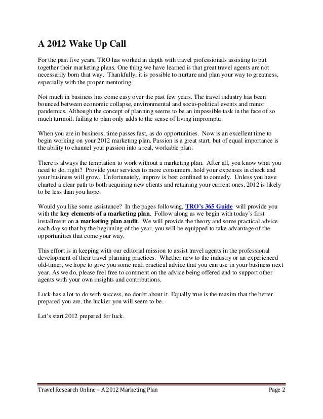 A 2012 marketing plan for travel professionals Slide 3