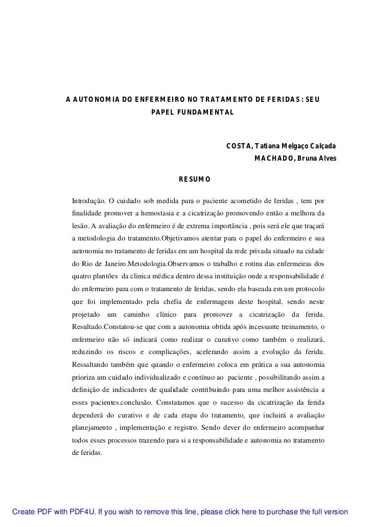 A AUTONOMIA DO ENFERMEIRO NO TRATAMENTO DE FERIDAS : SEU                                            PAPEL FUNDAMENTAL     ...