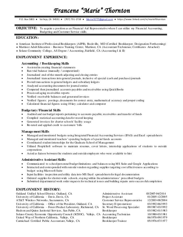 Financial Aid Representative - RESUME - FMThornton