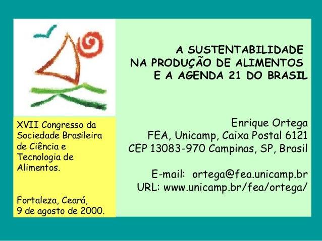 A SUSTENTABILIDADE NA PRODUÇÃO DE ALIMENTOS E A AGENDA 21 DO BRASIL Enrique Ortega FEA, Unicamp, Caixa Postal 6121 CEP 130...