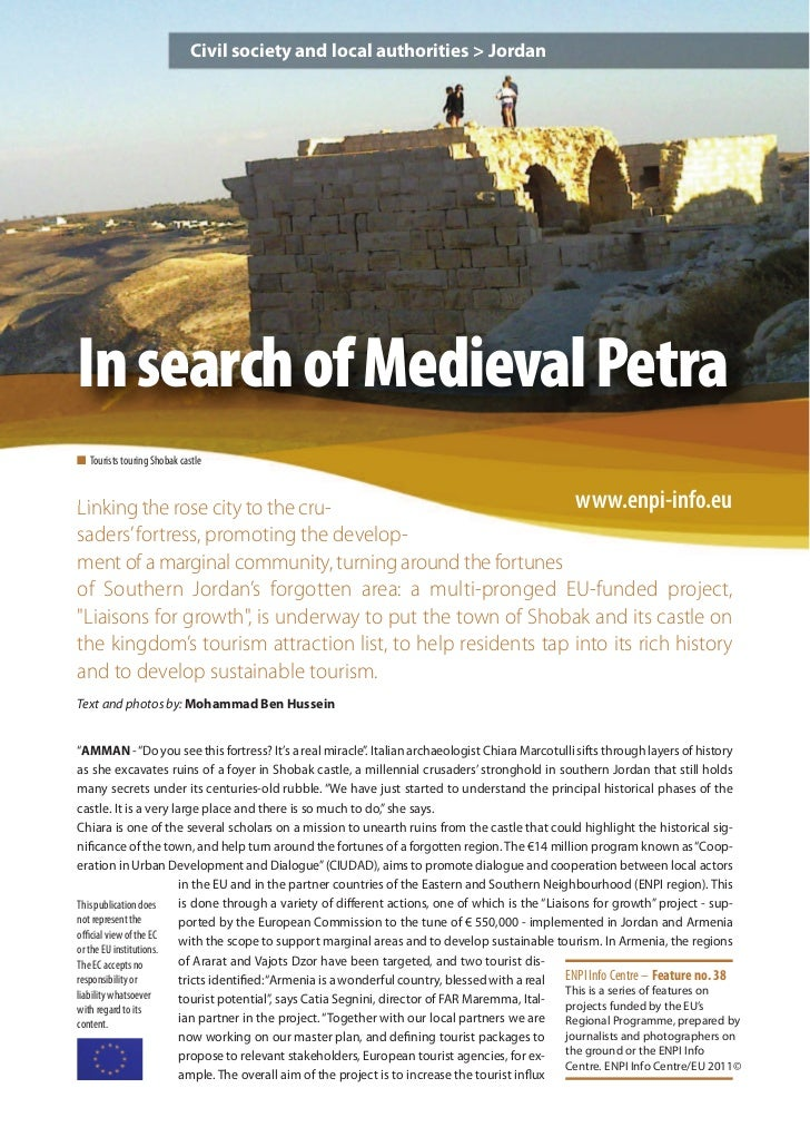 Civil society and local authorities > JordanIn search of Medieval Petran Tourists touring Shobak castleLinking the rose ci...