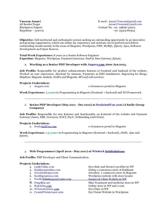 php developer sample resume