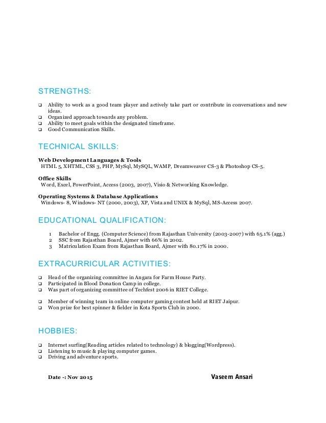 Resume Php Developer Sample Vosvetenet – Php Developer Resume Template