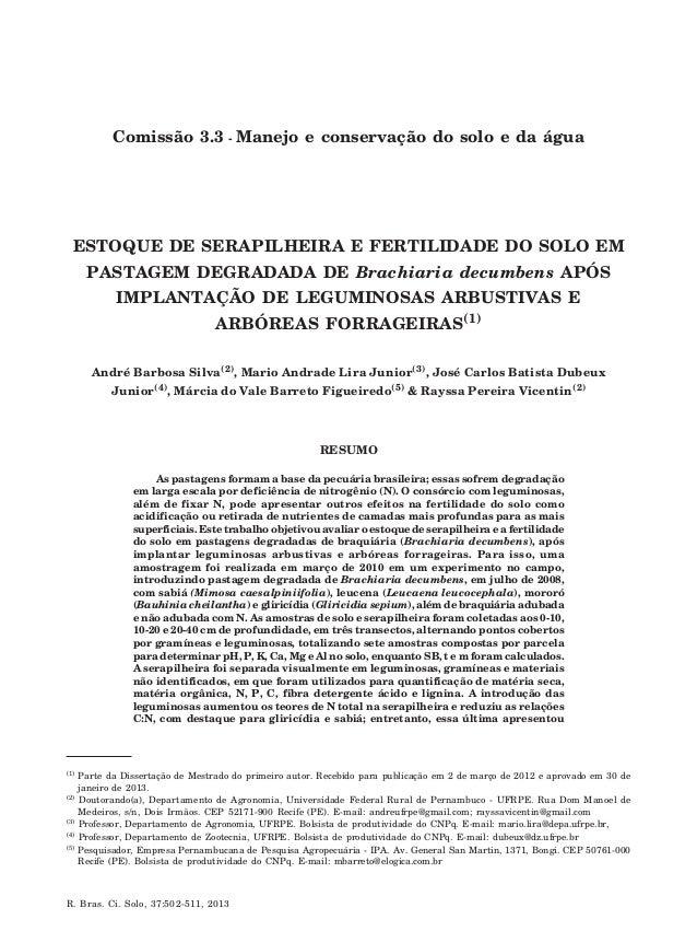 André Barbosa Silva et al. R. Bras. Ci. Solo, 37:502-511, 2013 502 ESTOQUE DE SERAPILHEIRA E FERTILIDADE DO SOLO EM PASTAG...