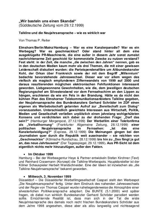 """""""Wir basteln uns einen Skandal"""" (Süddeutsche Zeitung vom 29.12.1999) Talkline und die Neujahrsansprache – wie es wirklich ..."""