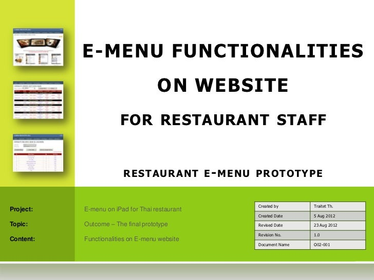 E-MENU FUNCTIONALITIES                                    ON WEBSITE                       FOR RESTAURANT STAFF           ...