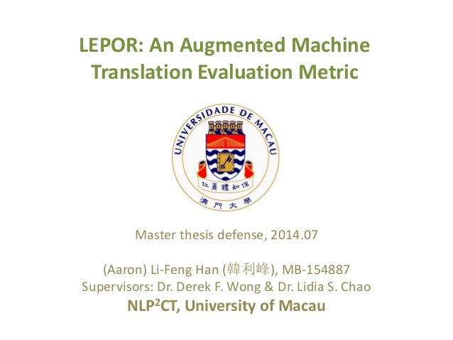 Master thesis on translation