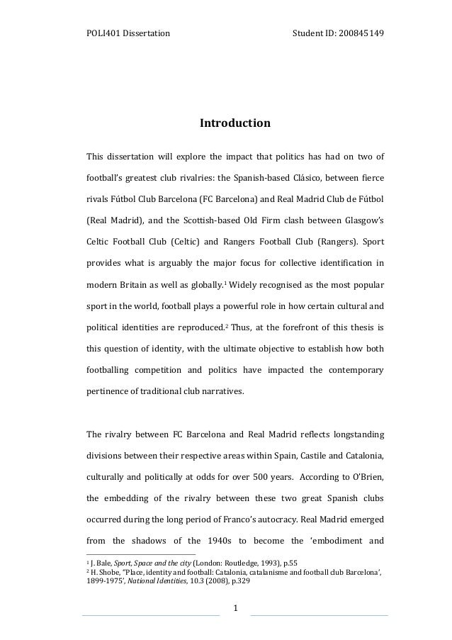 sport politics dissertation An essay on the role that sports play in international relationships and understanding, discussing the political aspects of sports and sports and diplomacy.