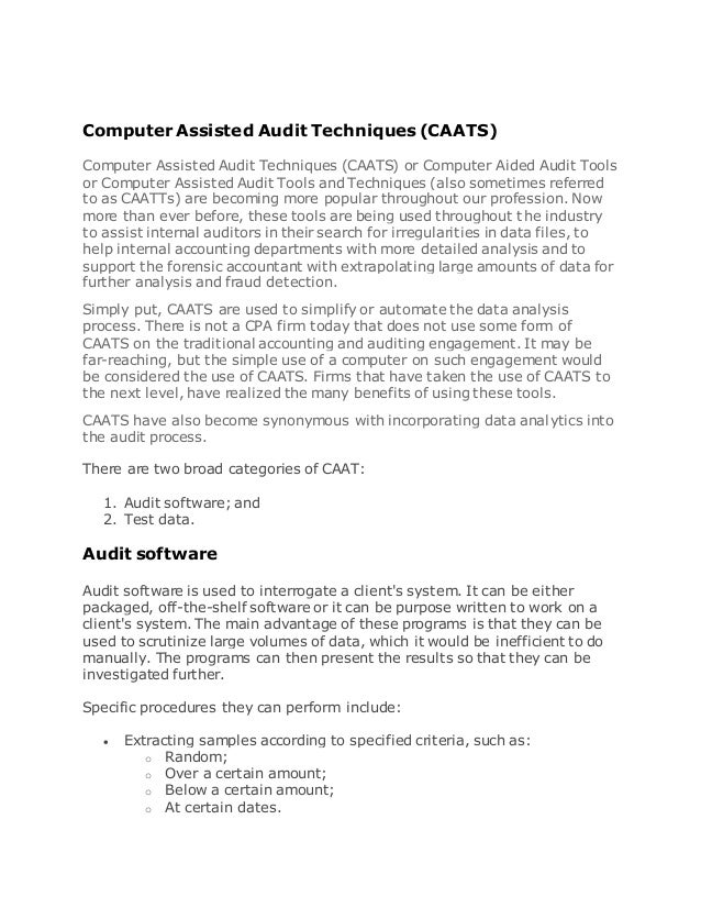 computer assisted audit technique Which of the following is a computer assisted audit technique that permits an from acct 3310 at u memphis.