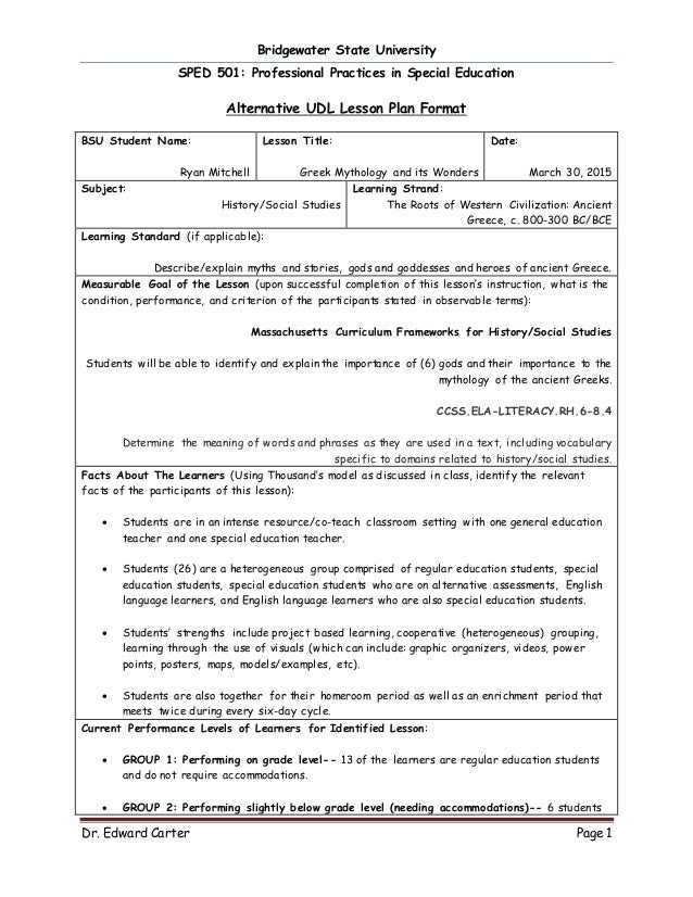 UDL Alternative Lesson Plan SS - Universal design for learning lesson plan template