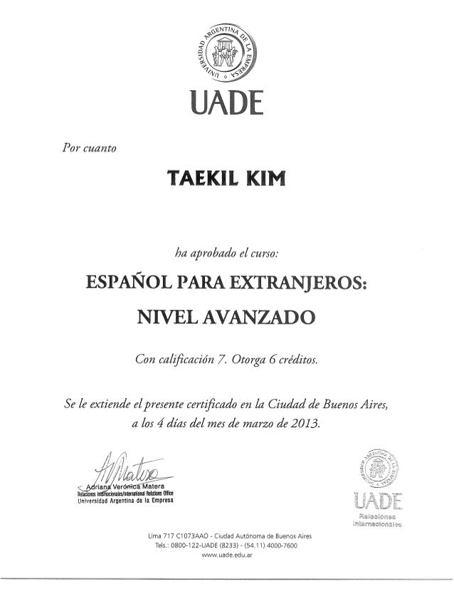 Spanish Certificate At Uade Advanced Level
