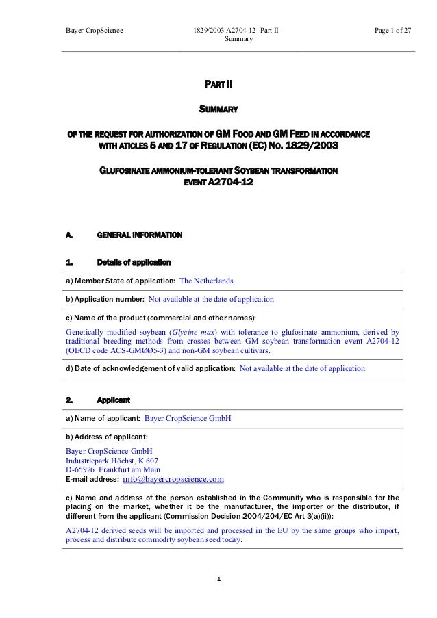 Bayer CropScience                     1829/2003 A2704-12 -Part II –                         Page 1 of 27                  ...