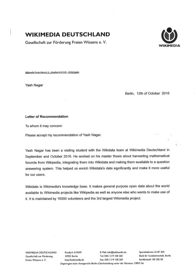 Gesellschaft zur Förderung Freien Wissens e. V. WIKIMEDIA Wikimedia Deutschiand e. V. - Postfach 61 03 49 - 1092S Berlin Y...