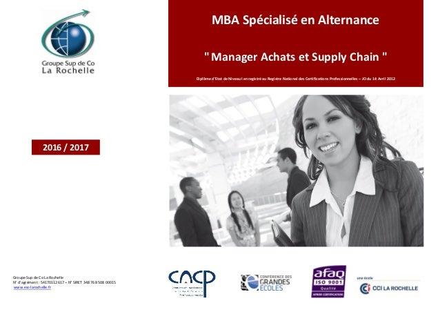"""MBA Spécialisé en Alternance """"Manager Achats et Supply Chain """" Diplôme d'Etat de Niveau I enregistré au Registre National ..."""