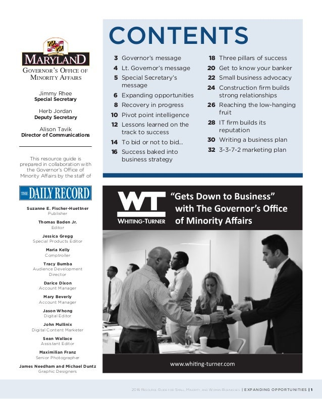 2016 Resource Guide for Small, Minority and Women Businesses Slide 3