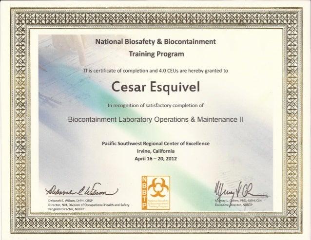 Certificado Bioseguridad - Biosafety Operations and Maintenance II