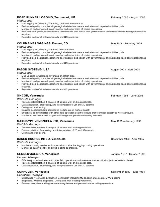 Geological Resume Samples