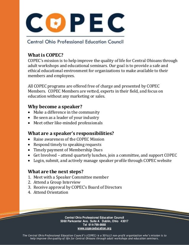 What is COPEC? COPEC's mission is to help improve the quality of life for Central Ohioans through adult workshops and educ...