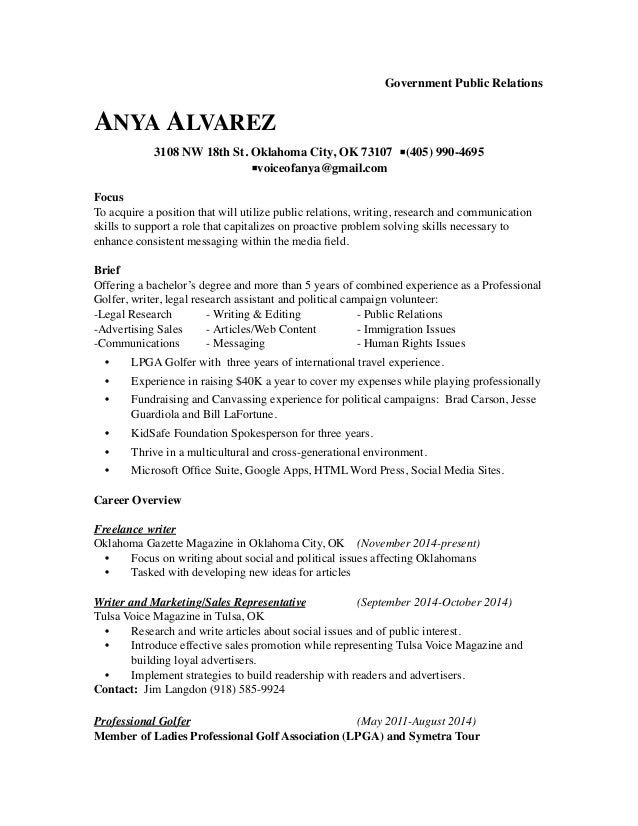 Resume Examples Government Militarypublic Affairs Specialist