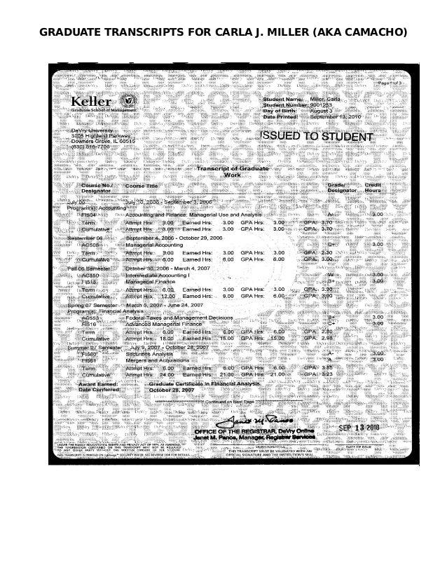 GRADUATE TRANSCRIPTS FOR CARLA J. MILLER (AKA CAMACHO)
