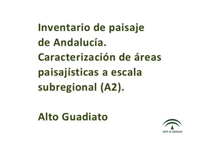 Inventario de paisaje de Andalucía. Caracterización de áreas paisajísticas  a escala subregional (A2). Alto Guadiato