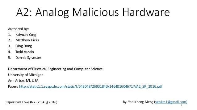 A2: Analog Malicious Hardware Authored by: 1. Kaiyuan Yang 2. Matthew Hicks 3. Qing Dong 4. Todd Austin 5. Dennis Sylveste...