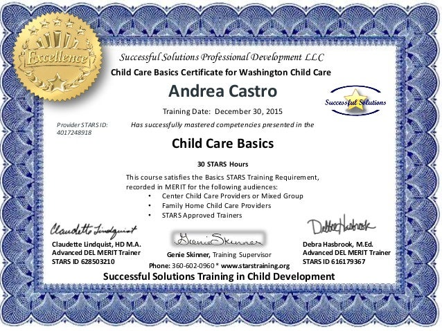 Andrea Castro Child Care Basics 30 Hour Certificate of Excellence 12.…