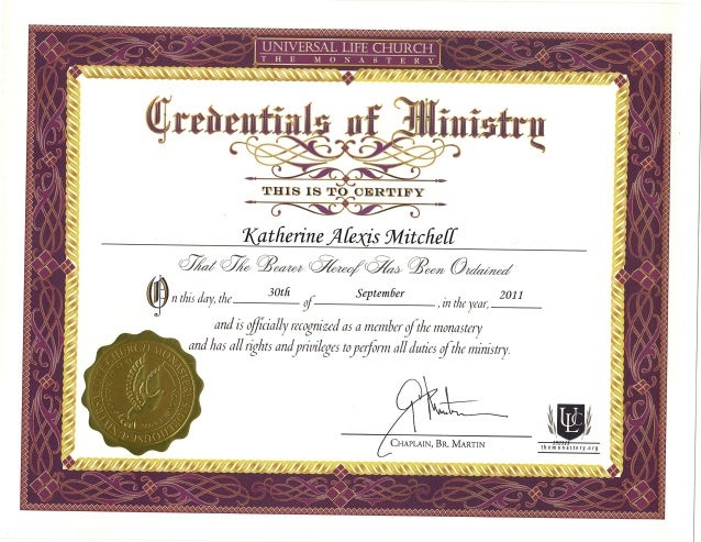 Ordained Minister Certificate 2011
