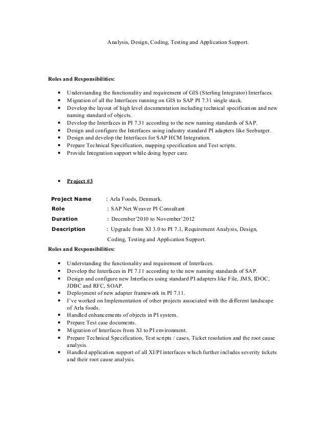 Sap Pi Developer Resume