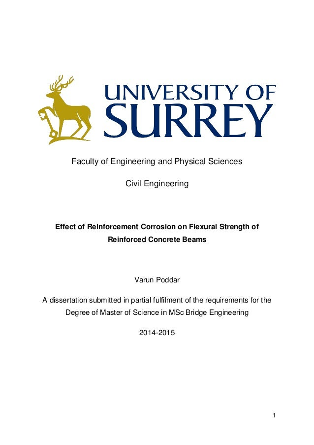1 Faculty of Engineering and Physical Sciences Civil Engineering Effect of Reinforcement Corrosion on Flexural Strength of...