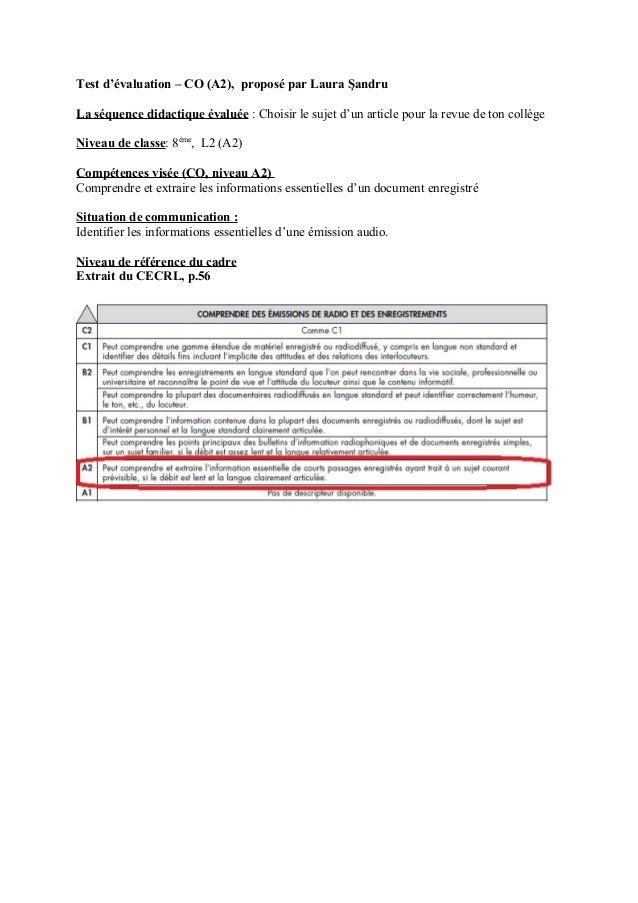 Test d'évaluation – CO (A2), proposé par Laura ŞandruLa séquence didactique évaluée : Choisir le sujet d'un article pour l...