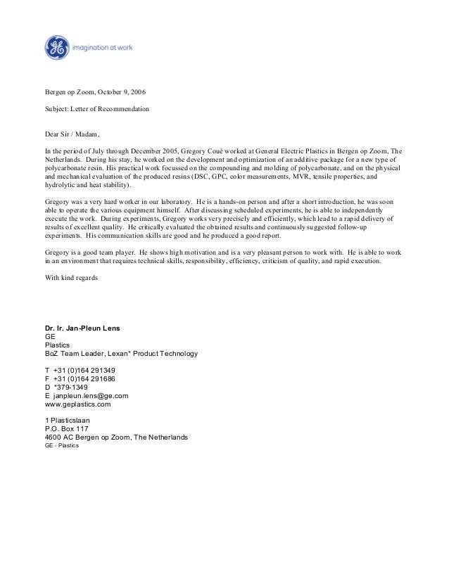 Reference Letter (GE) Grégory Coué