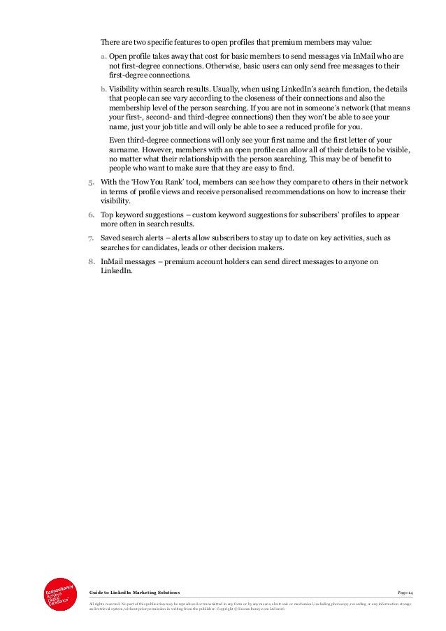 Guide to LinkedIn Marketing Solutions Page 14 All rights reserved. No part of this publication may be reproduced or transm...