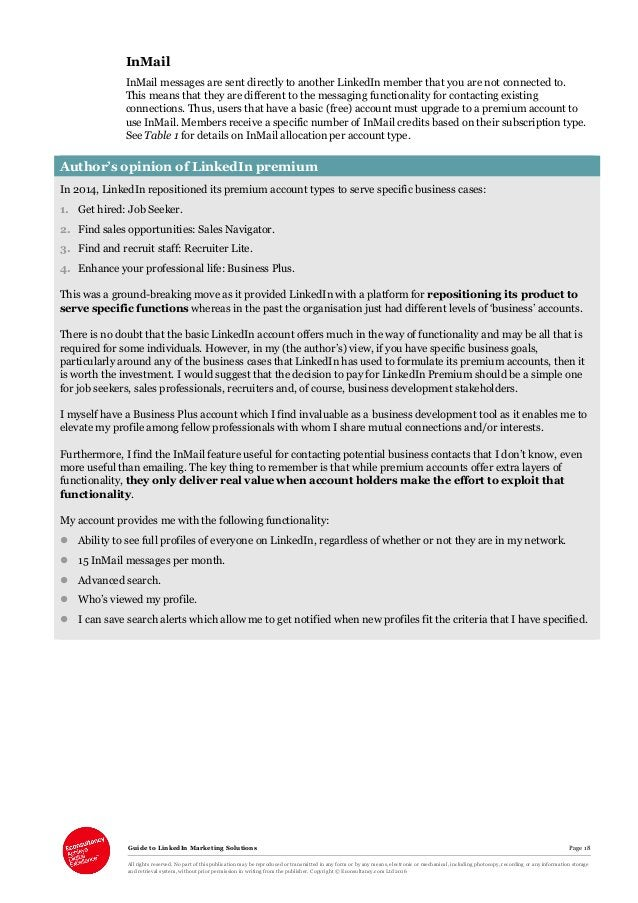 Guide to LinkedIn Marketing Solutions Page 18 All rights reserved. No part of this publication may be reproduced or transm...