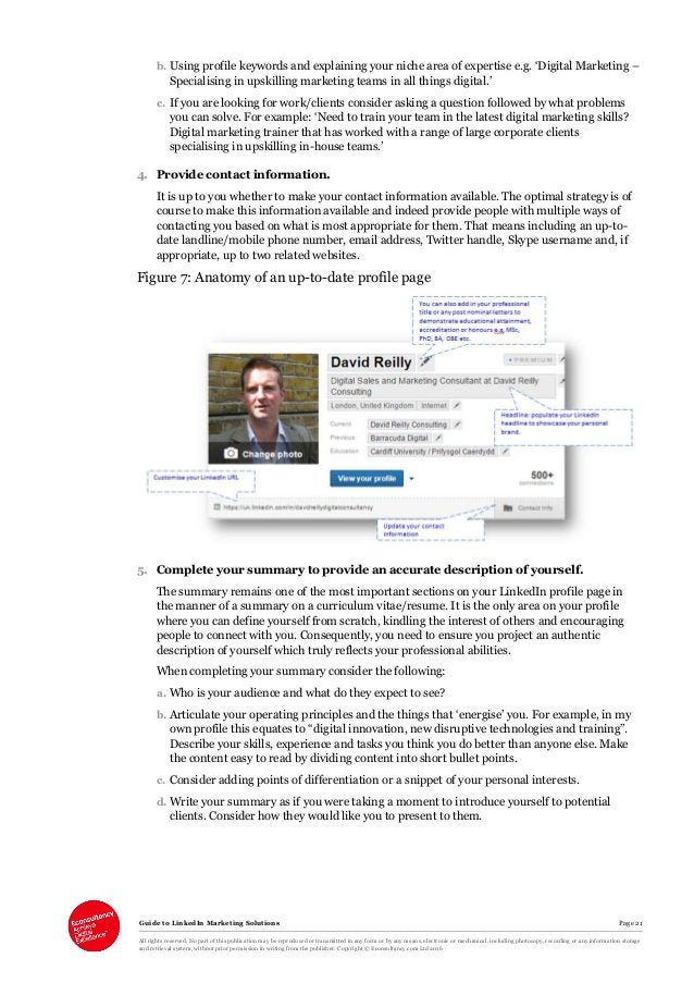 Guide to LinkedIn Marketing Solutions Page 21 All rights reserved. No part of this publication may be reproduced or transm...