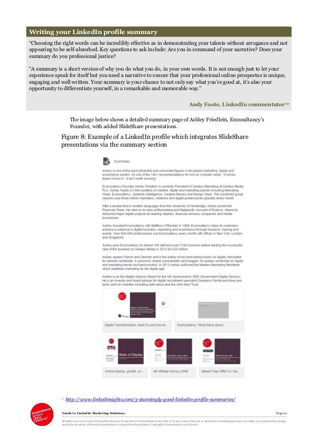 Guide to LinkedIn Marketing Solutions Page 22 All rights reserved. No part of this publication may be reproduced or transm...