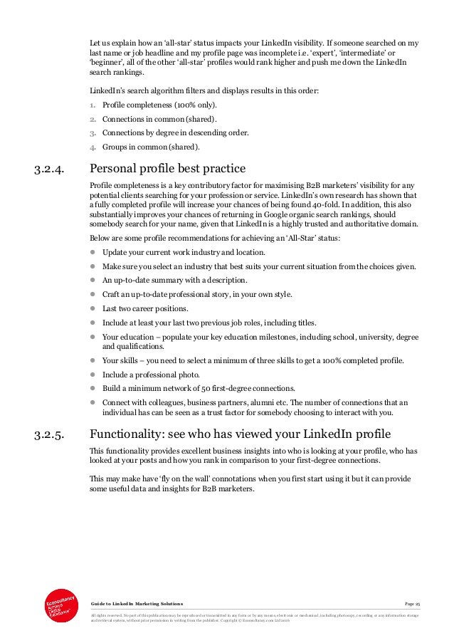 Guide to LinkedIn Marketing Solutions Page 25 All rights reserved. No part of this publication may be reproduced or transm...