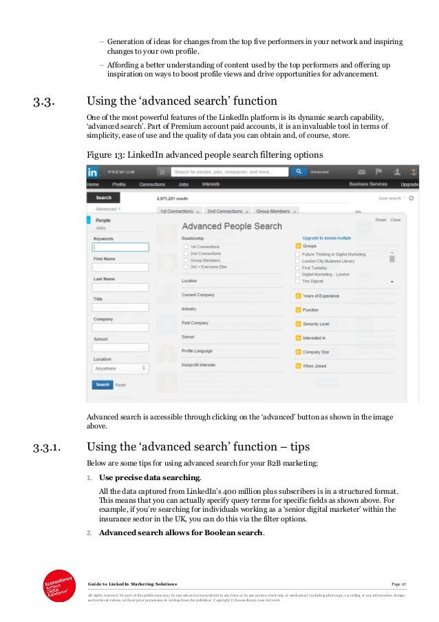Guide to LinkedIn Marketing Solutions Page 27 All rights reserved. No part of this publication may be reproduced or transm...