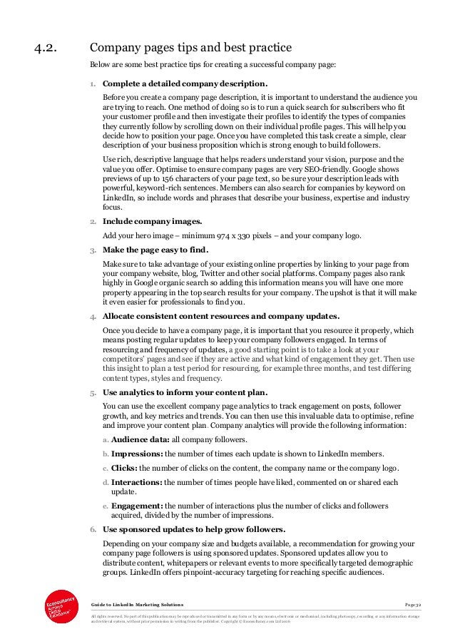 Guide to LinkedIn Marketing Solutions Page 32 All rights reserved. No part of this publication may be reproduced or transm...