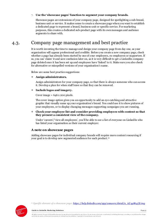 Guide to LinkedIn Marketing Solutions Page 33 All rights reserved. No part of this publication may be reproduced or transm...