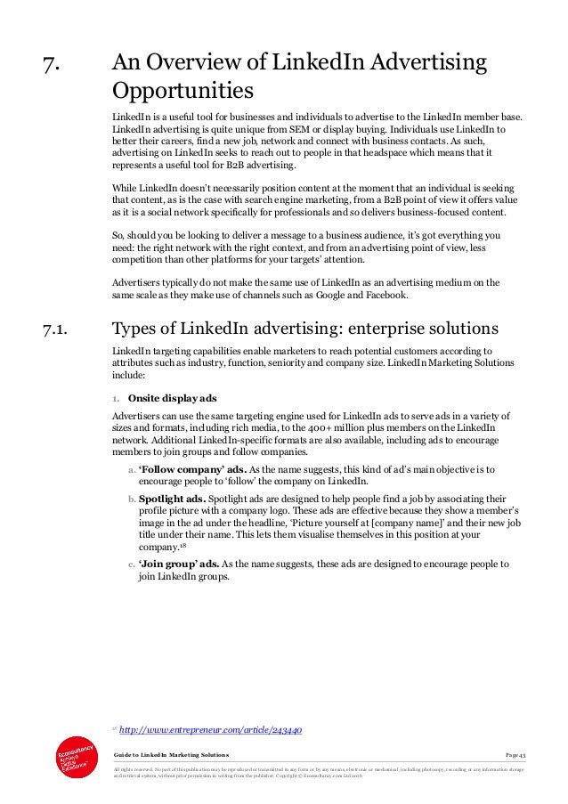 Guide to LinkedIn Marketing Solutions Page 43 All rights reserved. No part of this publication may be reproduced or transm...