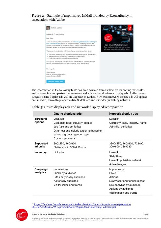 Guide to LinkedIn Marketing Solutions Page 45 All rights reserved. No part of this publication may be reproduced or transm...