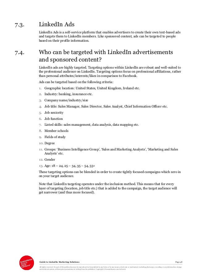 Guide to LinkedIn Marketing Solutions Page 48 All rights reserved. No part of this publication may be reproduced or transm...