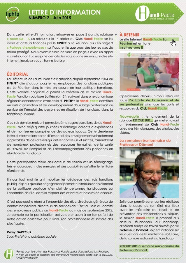 Fonction publique La Reunion andi-PacteLETTRE D'INFORMATION NUMERO 2 - Juin 2015 À retenir Le site Internet Handi-Pacte La...
